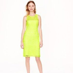 J. CREW COLLECTION Neon Yellow Lace Shift Dress 4